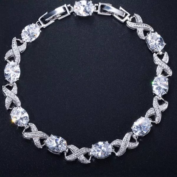 Crystal silver cubic zironia bracelet